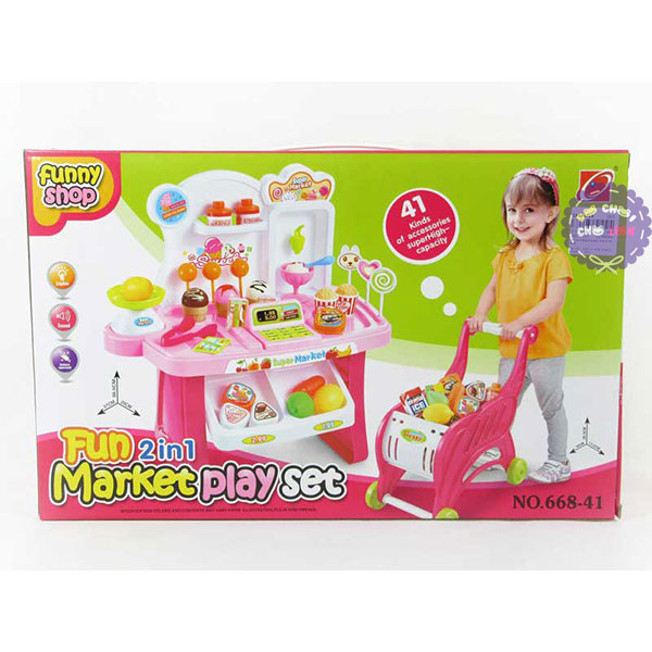 Hộp đồ chơi máy tính tiền quầy kem và xe đẩy siêu thị có đèn nhạc