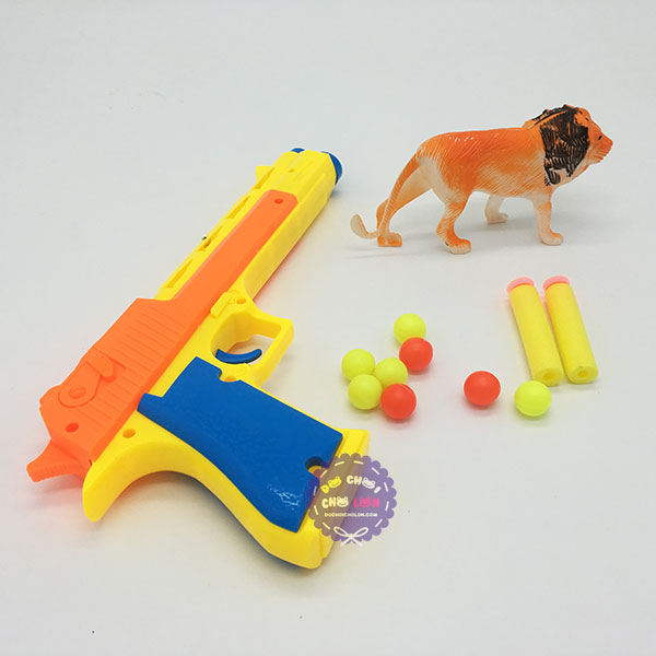 Vỉ đồ chơi súng bắn đạn mút xốp mềm 8 banh & thú rừng