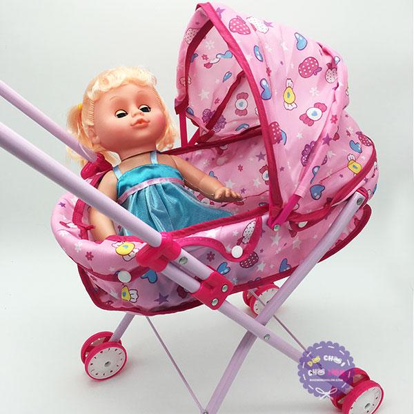 Bộ đồ chơi xe đẩy búp bê baby bằng sắt