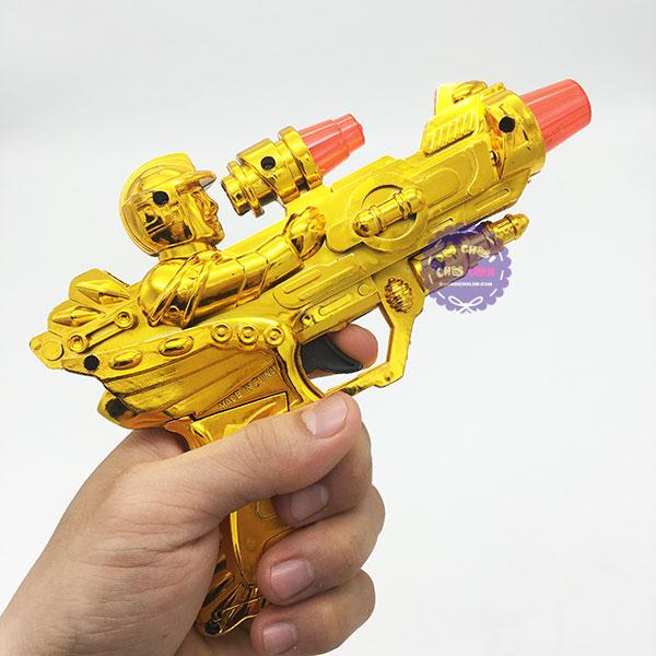 Đồ chơi súng lục xi đầu siêu nhân dùng pin có đèn nhạc