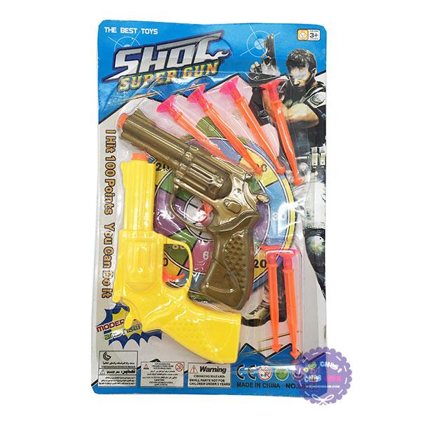 Vỉ đồ chơi 2 súng mini bắn đạn nhựa hít tường