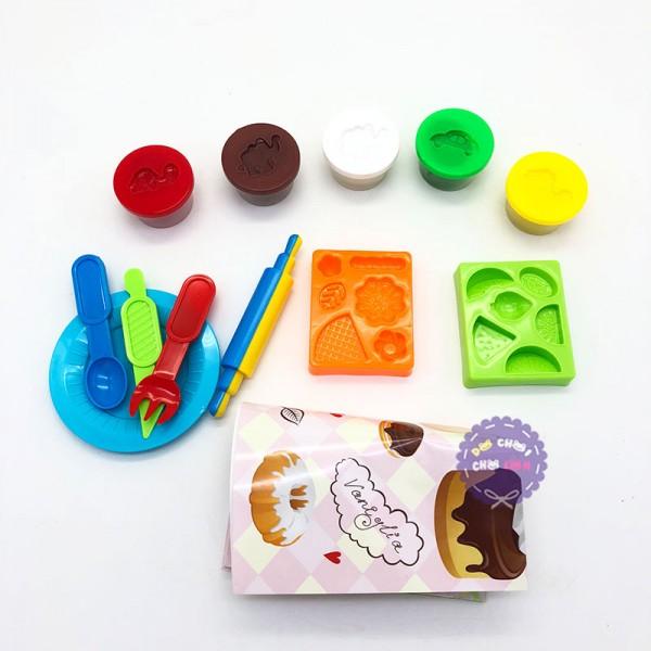 Hộp đồ chơi làm bánh kem bằng đất sét nặn 5 hũ & khuôn 726D-1
