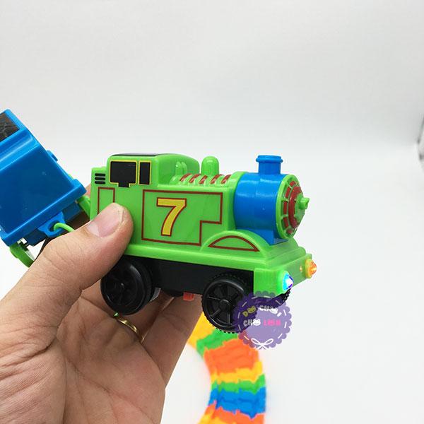 Hộp đồ chơi ráp đường ray xe lửa chạy pin 56 miếng