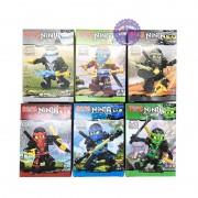 Bộ 6 hộp đồ chơi lắp ráp Robo Ninja xanh bằng nhựa 76064