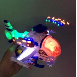 Hộp đồ chơi máy bay trực thăng cảnh sát chiến đấu chạy pin có đèn nhạc