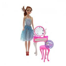 Bộ đồ chơi búp bê gái & bàn ghế trang điểm bằng nhựa