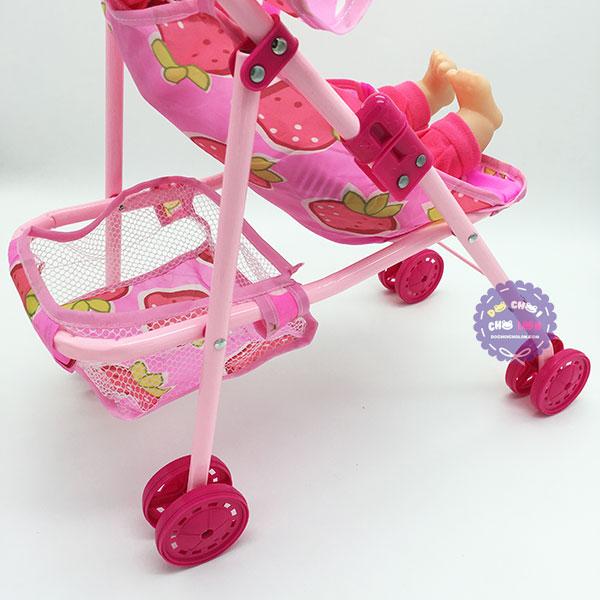 Bộ đồ chơi xe đẩy búp bê em bé trai phát nhạc bằng sắt