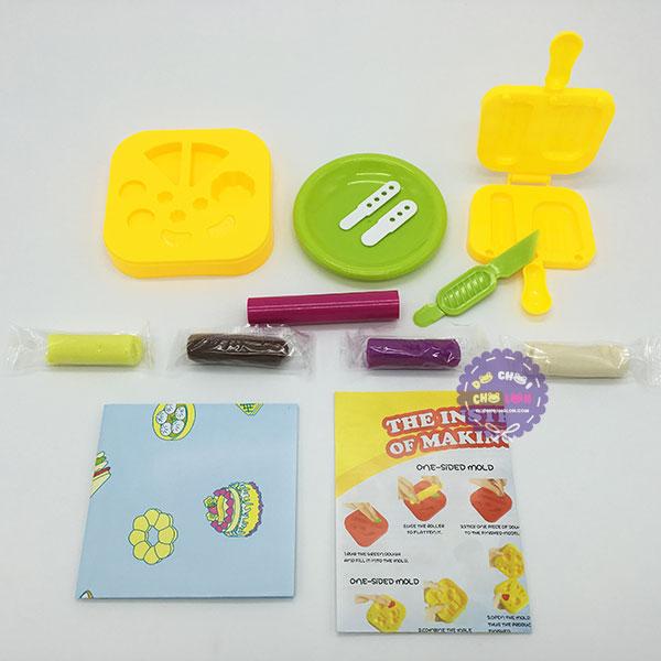 Hộp đồ chơi làm kem bằng đất sét nặn (4 túi)