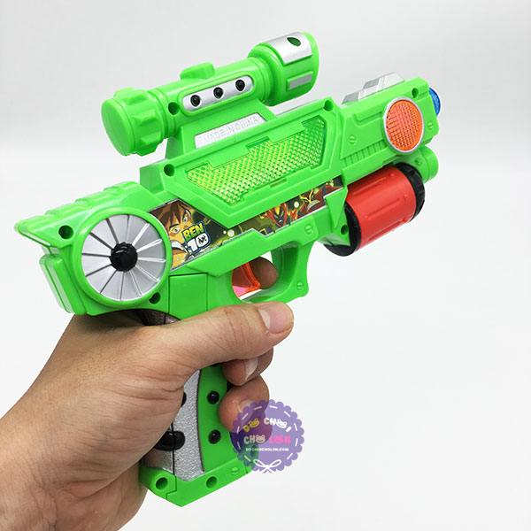 Đồ chơi súng ngắn BEN10 ổ xoay chiếu ảnh dùng pin có đèn nhạc