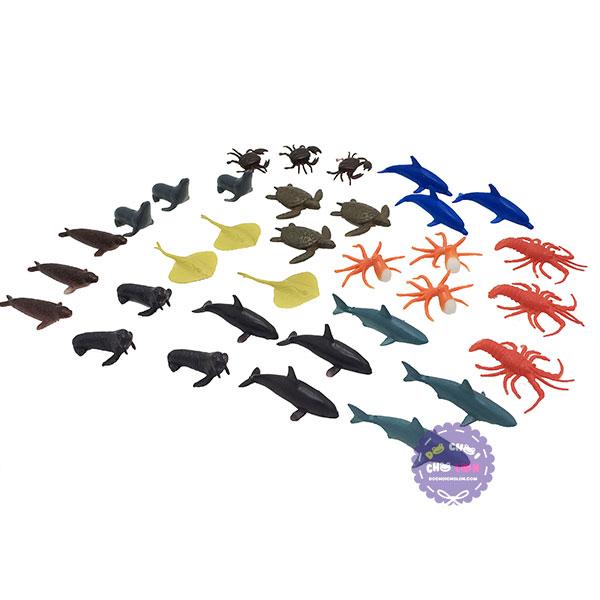 Bộ đồ chơi 33 loài sinh vật biển mini bằng nhựa Marine Animals