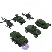Hộp đồ chơi các loại xe máy bay quân sự bằng sắt 6 chiếc 1:87