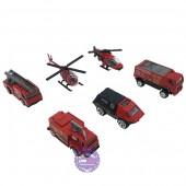Hộp đồ chơi các loại xe cứu hỏa bằng sắt 6 chiếc 1:87