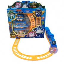 Hộp đồ chơi đường ray xe lửa tàu hỏa Poli chạy pin