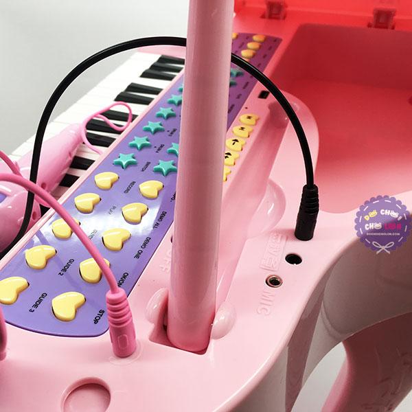 Hộp đồ chơi đàn piano có micro nắp đậy dùng pin nhạc đèn
