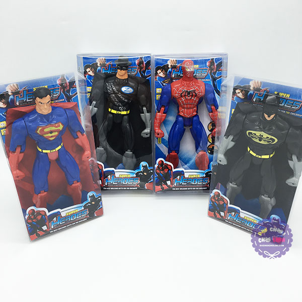 Bộ 4 hộp đồ chơi siêu anh hùng Super Heroes dùng pin có đèn