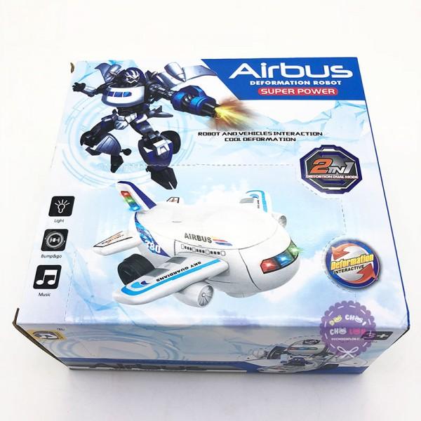 Hộp đồ chơi máy bay biến hình Robot Airbus có đèn nhạc 8995