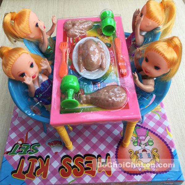 Bộ đồ chơi bàn ăn & 4 búp bê baby