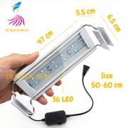 Đèn LED máng Xuan Mei Long 2 dãy TRẮNG cho hồ cá size 50 - 60 cm