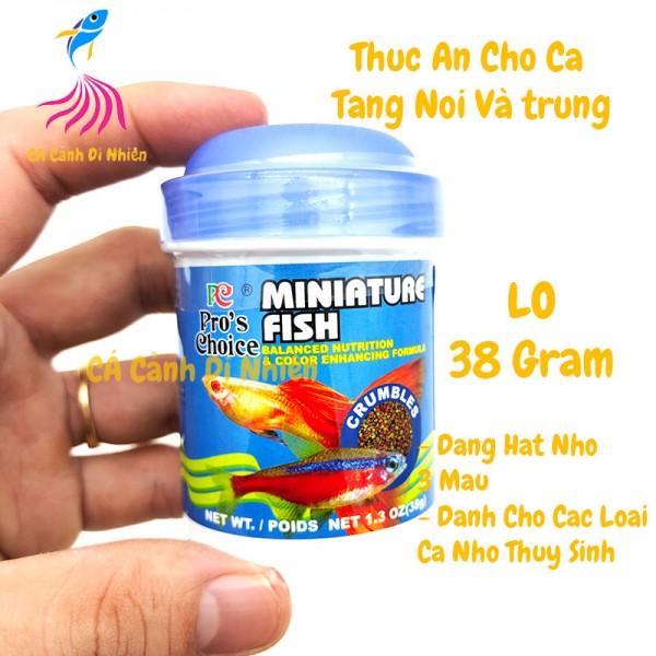 Thức ăn cho cá nhỏ thủy sinh Miniature Fish dạng hạt lọ XANH 38 Gram