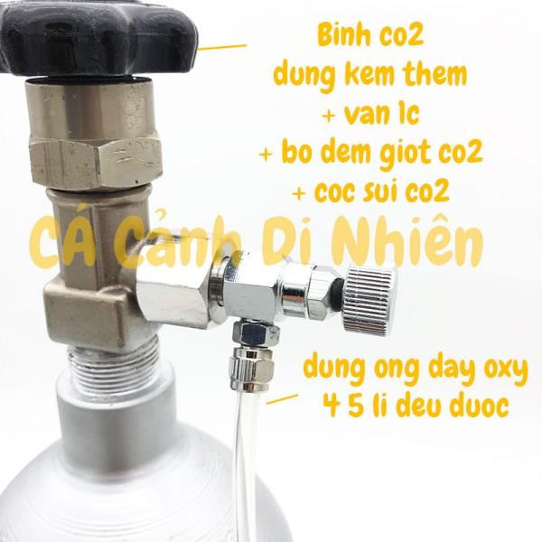 Bình CO2 Aluminum Cylinder 2 Lít van Inox cho hồ cá thủy sinh