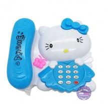 Đồ chơi điện thoại bàn mèo Kitty dùng pin có đèn nhạc