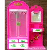 Đồ chơi búp bê tủ quần áo hồng và phần phấn trang điểm