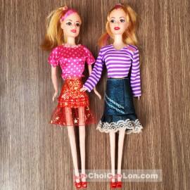 Hộp đồ chơi búp bê 2 chị em 14 bộ váy đầm