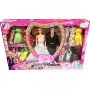 Hộp đồ chơi búp bê cô dâu chú rể 12 bộ váy