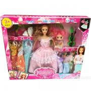 Hộp đồ chơi búp bê mẹ con 8 bộ váy đầm & mèo ba tư
