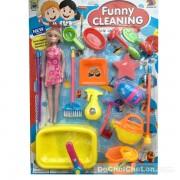 Vỉ đồ chơi búp bê dụng cụ dọn dẹp nhà cửa