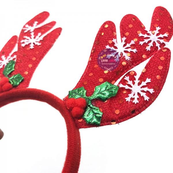 Băng đô cài tóc sừng tuần lộc Noel trái dâu bằng vải nỉ