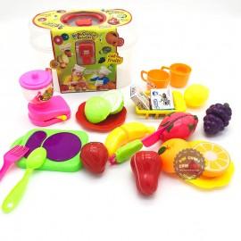 Hộp đồ chơi cắt nấu trái cây 20 món bằng nhựa