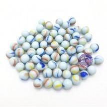 Bộ 70 viên bi ve 3 khía màu sữa size 1.6 cm bằng thủy tinh