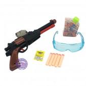 Hộp đồ chơi súng lục dài ổ xoay bắn đạn xốp đạn nước & mắt kiếng