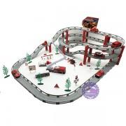 Hộp đồ chơi đường ray 2 tầng 10 xe cứu hỏa bằng sắt 72 mảnh
