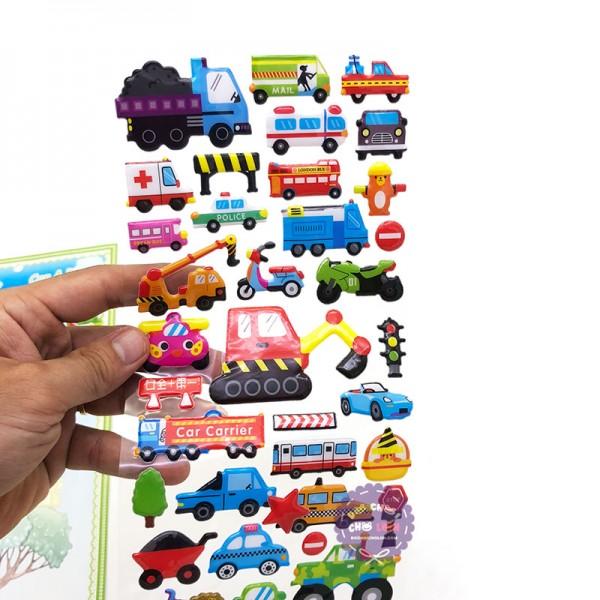 Hình dán sticker nổi 3D hình các loại xe công trình