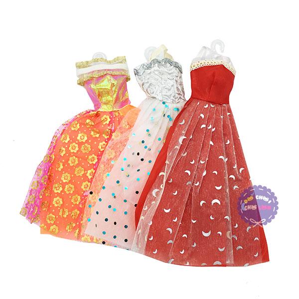 Bộ 3 đầm dạ hội cho búp bê bằng vải giấy