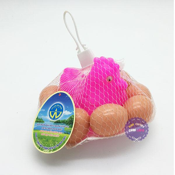 Bộ đồ chơi dĩa gà 10 quả trứng bằng nhựa túi lưới