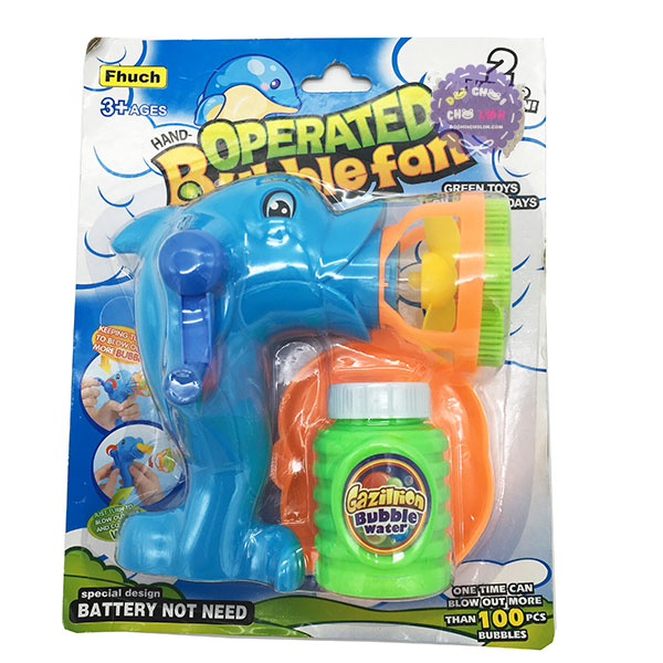Vỉ đồ chơi súng thổi bong bóng xà phòng quay tay cá heo