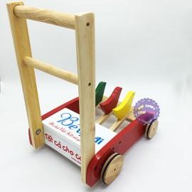 Xe đẩy tập đi 3 con gà bằng gỗ bánh viền cao su Forkids FK001