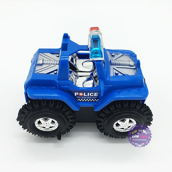 Hộp đồ chơi xe jeep cảnh sát nhào lộn dùng pin bánh lật