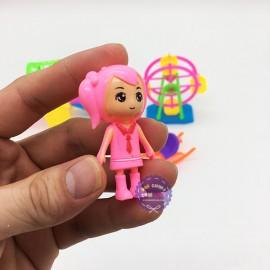 Vỉ đồ chơi công viên: cầu tuột, đu quay, ngựa & 2 bé bằng nhựa
