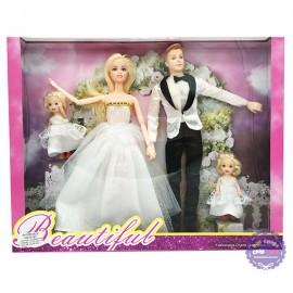 Hộp đồ chơi búp bê gia đình cô dâu và chú rể có khớp