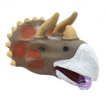 Hộp đồ chơi rối bàn tay khủng long tê giác Triceratops 3D bằng nhựa mềm