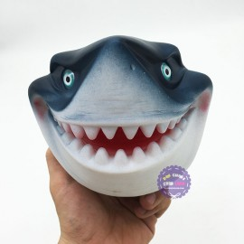 Hộp đồ chơi rối bàn tay cá mập trắng 3D bằng nhựa mềm