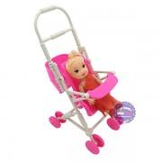 Bộ đồ chơi xe đẩy búp bê mini bằng nhựa
