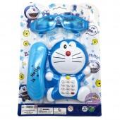 Vỉ đồ chơi điện thoại bàn Doraemon & mắt kiếng có đèn nhạc