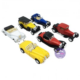 Hộp đồ chơi các loại xe hơi cổ bằng sắt 6 chiếc chạy trớn 1:24