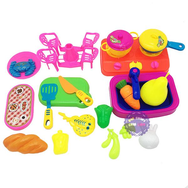 Bộ đồ chơi đồ hàng bàn ghế nấu ăn bằng nhựa Long Thủy