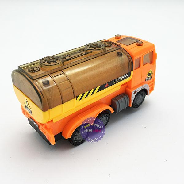 Hộp đồ chơi xe bồn chở xăng dầu 6 bánh chạy pin đèn 3D có nhạc